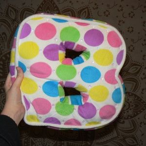 """B"" Pillow Rainbow Polka Dots"